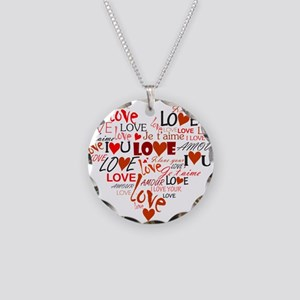 Love Heart Necklace Circle Charm