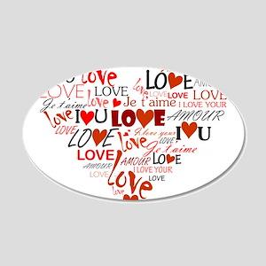 Love Heart 20x12 Oval Wall Decal