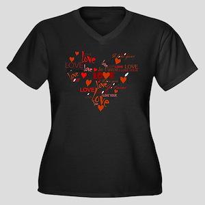 Love Heart Women's Plus Size V-Neck Dark T-Shirt
