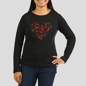 Love Heart Women's Long Sleeve Dark T-Shirt
