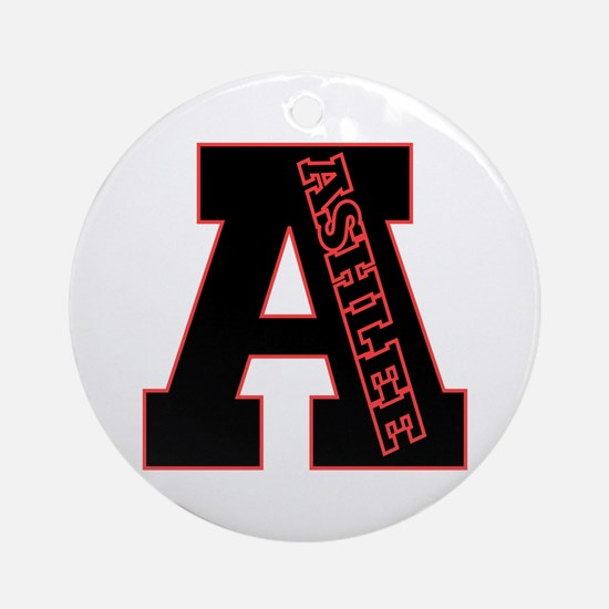 ASHLEE Letterman design Red/b Ornament (Round)