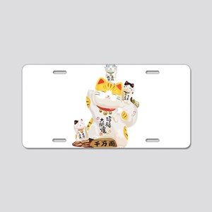 Lucky Cats Aluminum License Plate
