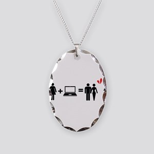Cheater Necklace Oval Charm