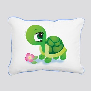 Toshi the Turtle Rectangular Canvas Pillow