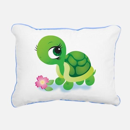 Toshi the Turtle Rectangular Canvas Pillow