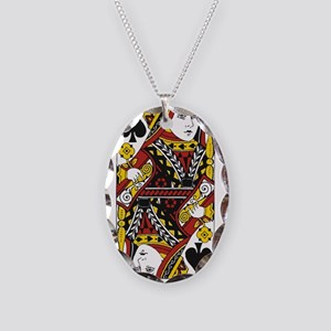 Queen of Spades Necklace Oval Charm