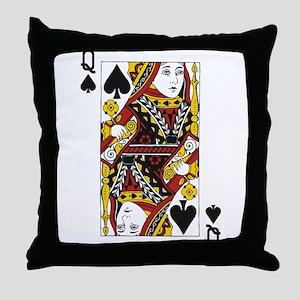 Queen of Spades Throw Pillow