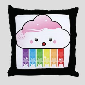 Kawaii Rainbow Cloud Throw Pillow