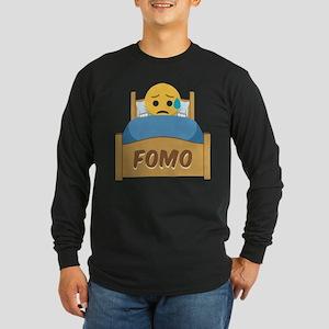 Emoji Sad FOMO Long Sleeve Dark T-Shirt