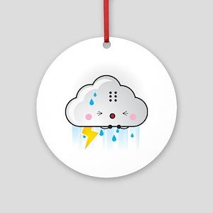 Kawaii Rain Cloud Ornament (Round)