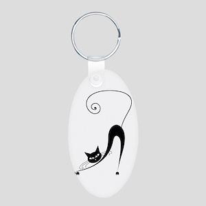 Black Cat Aluminum Oval Keychain