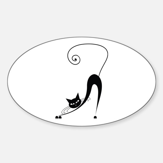 Black Cat Sticker (Oval)