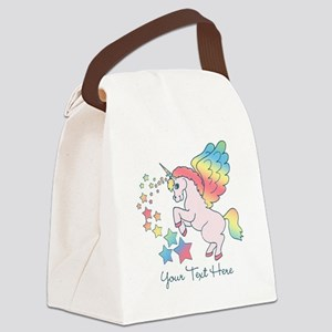 Unicorn Rainbow Star Canvas Lunch Bag