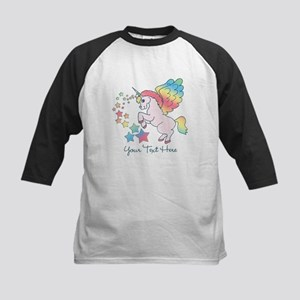 Unicorn Rainbow Star Kids Baseball Jersey