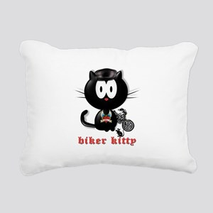 biker kitty Rectangular Canvas Pillow