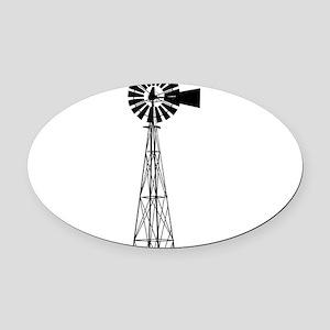 Windmill Oval Car Magnet