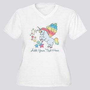 Unicorn Rainbow Star Women's Plus Size V-Neck T-Sh