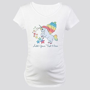 Unicorn Rainbow Star Maternity T-Shirt