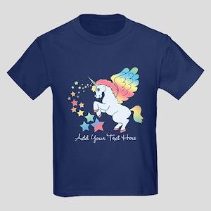 Unicorn Rainbow Star Kids Dark T-Shirt