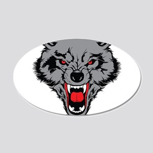 Angry Wolf 20x12 Oval Wall Decal