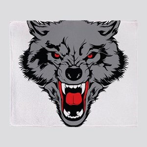 Angry Wolf Throw Blanket