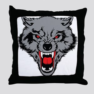 Angry Wolf Throw Pillow