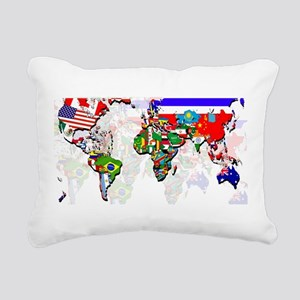 World Flag Map Rectangular Canvas Pillow