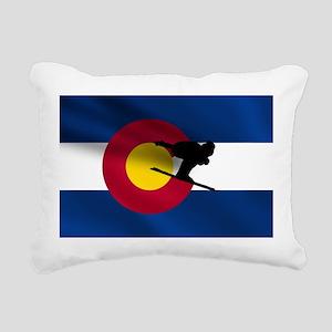 Colorado Skiing Flag Rectangular Canvas Pillow