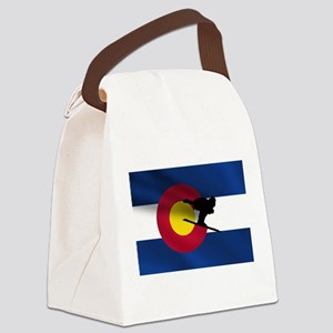 Colorado Skiing Flag Canvas Lunch Bag