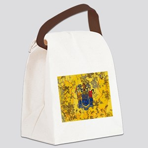 New Jersey Grunge Flag Canvas Lunch Bag