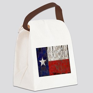 Retro Flag of Texas Canvas Lunch Bag