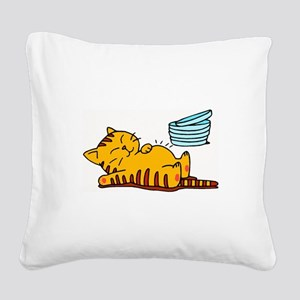 cartoon-fat-cat Square Canvas Pillow