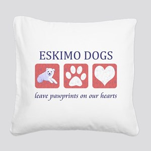 FIN-eskimo-dogs-pawprints Square Canvas Pillow
