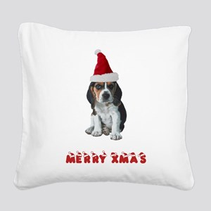 Beagle Christmas Square Canvas Pillow