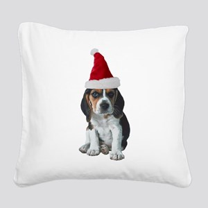 FIN-beagle-puppy-santa Square Canvas Pillow