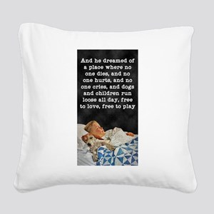 FIN-dreaming-boy-and-beagle-poem Square Canvas