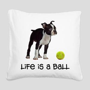 Boston Terrier Life Square Canvas Pillow