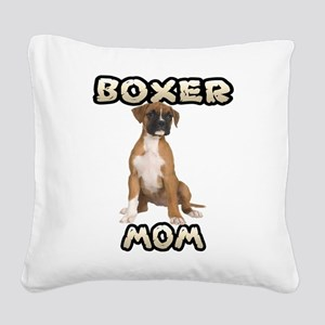 Boxer Mom Square Canvas Pillow