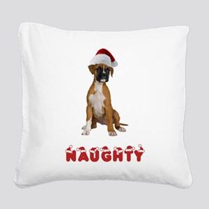 FIN-boxer-puppy-naughty Square Canvas Pillow