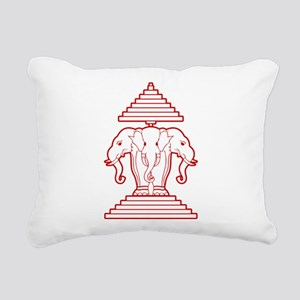 Three Headed Elephant Rectangular Canvas Pillow