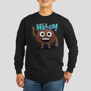 Emoji Poop Hello Long Sleeve Dark T-Shirt
