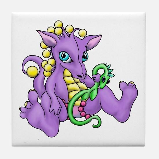 sitting dragon.png Tile Coaster