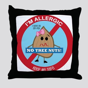 Tree Nut Allergy - Girl Throw Pillow
