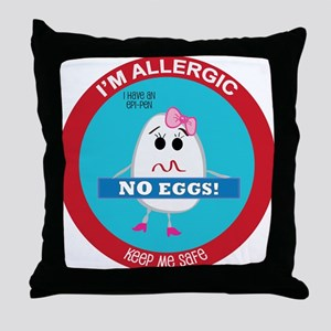 Egg Allergy - Girl Throw Pillow