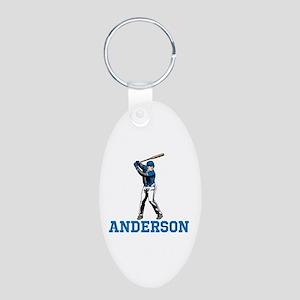 Personalized Baseball Aluminum Oval Keychain