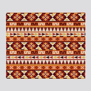 Autumnal Colors Aztec Pattern Throw Blanket