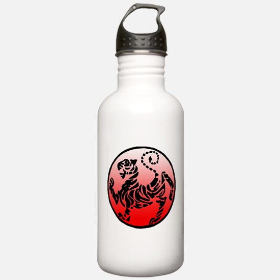 shotokan - black tiger on red and white Water Bottle