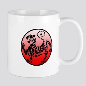 shotokan - black tiger on red and white Mug