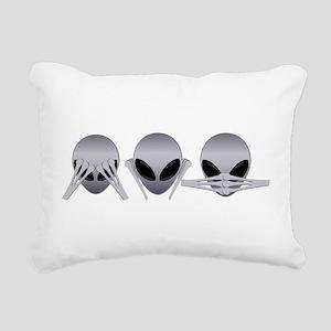 See No Evil Alien Rectangular Canvas Pillow