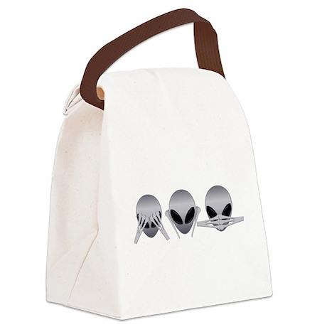 See No Evil Alien Canvas Lunch Bag